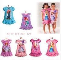 2014 New Baby Gilrs Pajamas/Baby Cartoon Summer Pyjamas Children Nightgown/Kids nightgown pajamas princess NO-007