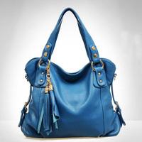 Leather one shoulder handbag genuine leather tassel women's handbag 060