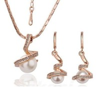 Fashion 18K Gold Plated Health Wedding Pearl Jewelry Sets Nickel Free Plating Rhinestone Made with Austrian
