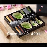 Green Ceramic Japanese Sauce Dish Set Crackle Glaze Effect w/ Leaf Shaped Sushi Dipping Dishes Soup Spoon Wood Chopsticks