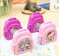 Free ship 1lot=50pcs/korean stationery kawaii HELLO KITTY bag cartoon modelling eraser school supplies