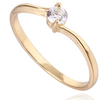 free shipping 2014 simple style 18k gold and white gold plated  fill a zircon  engagement  rings for women  yilia