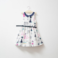 high quality fashion girls print floral dress with belt,children princess party dress