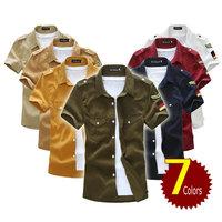 2014 New free shipping men shirts military style short sleeve men's shirts 7 colors free shipping BF181