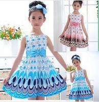2014 Kids Girls Dress cute peacock color sleeveless princess dress circle Korean Fashion Blue children's clothing New