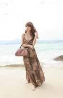 Free shipping Gorgeous Sexy Summer Bohemian leopard Super Long dress V-neck Line Beach Skirt  SK-053