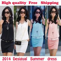 Vestidos Summer dress 2014 Chiffon dress  Cotton Women's Mini casual dresses Sleeveless Vestidos Tunic Sundress Free Shipping