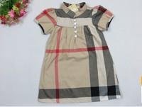 Free shipping A line Baby girl dresses England brand plaid summer dress baby girls dress little princess