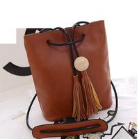 new 2015 tassel women leather handbags tassel shoulder bag messenger bags bucket bag HL1624