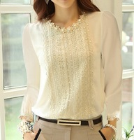 2014 Fashion Women's Chiffon Shirts Long Sleeve Base Shirts Casual Lace Female Blouses Woman's Clothing Blusas TB30