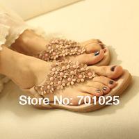 FREE SHIPPING 2014 Bohemia women's pinch flat shoes leuconostoc flip-flop sandals flower flat heel