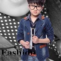 2014 New Spring Autumn boy outerwear kids jackets coat leather spliced boy denim coat 3-13y children jean suit blazer coat