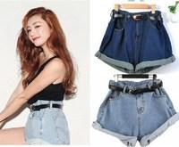 women new fashion 2014 summer spring Denim Shorts With Sashes Belt Mini Short ladies jeans Skorts Girl sweet High Waist Bottom
