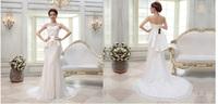 2014 new lace tube top wedding dress/fish tail dress/ bandage slim waist dress
