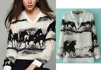 2014 Spring Autumn Horse Chiffon White Blouses for Women Fashion Tops Body camisas roupas blusas femininas Work wear dudalina