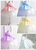 2014 Retail girl dresses girl's party High-grade Princess dresses chiffon Big bowknot childrens clothing dress 4 Colors