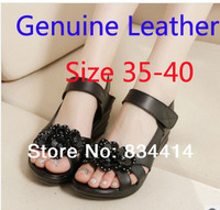 New 2014 Fashion women Genuine Leather shoes Gladiator pumps shoes Summer women sandals Black Sexy Woman shoes 812