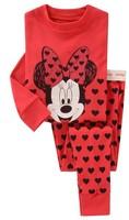 free shipping 2014 new 100% cotton Hello kitty baby pajamas children minnie mouse pyjamas kids baby clothing 2 pcs set