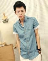 2014 three-dimensional midsweet New Arrival MEN Shirts Summer denim short-sleeve shirt