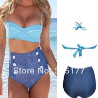 Free shipping Bohemian Polka Dot High Waist Bikini Swimwear 2014 Newest Sexy Swimwear Wholesale 10pcs/lot  40652