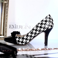 Spring 2014 new shoes black and white checkered stitching bow pointed stiletto leather first layer of leather shoes