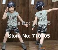Free shipping  clothing set  Boys Sets  T-shirt  Shorts  Girls  Summer  Short sleeve  Camouflage  Children's Sets  100% Cotton