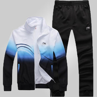 2015 Free shipping Spring and Autumn Sportswear suit men's Brand sports suit lovers cotton track suit