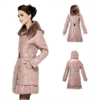 2013 Free Shipping Hot Sale Women Autumn Winter Fashion Plus Size Fur Collar Coat With Hat, Casual Down Parkas Outerwear WC122