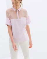 YG037-1 New 2014 summer autumn fashion women shirt transparent organza short sleeve sexy blouse patchwork blusas casual