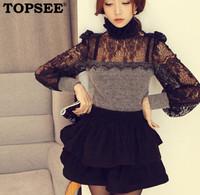 Spring 2014 women shirt princess lace lantern sleeve patchwork sweater free shipping