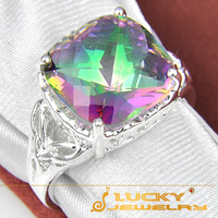 Sales 2014 New Arrival Fashion Style Silver Jewelry Rainbow Fire Mystic Topaz Ring For Women Party Ring R00230 USA Size 7 8 9