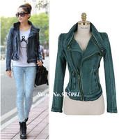 Good Quality 2014 New Women Fashion Denim Jeans Jacket Shirts Womans Spring Slim Tops Short Motorcycle Biker Cool Coats 3077