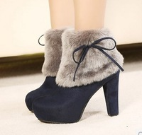 Free shipping!high quality fashion 2014 Princess winter boots thick heel snow boots lady high-heeled boots
