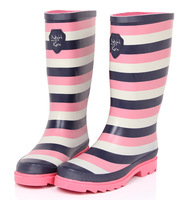 Fashion stripe winter rain boots sweet knee-high plus velvet thermal rainboots corporality women's water rubber shoes rain shoes