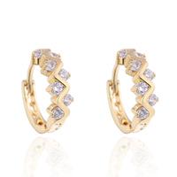 2014  new design  gold plated  crossed  white  zircons hoop  earrings   for women  or girls
