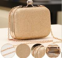 2014 women fashion hard Evening Box party Clutch Gold cut out Chains Leather shoulder messenger handbag ladies cross body clutch