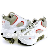 2014 Men Child women Four wheels Roller skates Double wheels Walkable Skating Leisure Sports Dual shoes Tap shoes Runaway Shoes