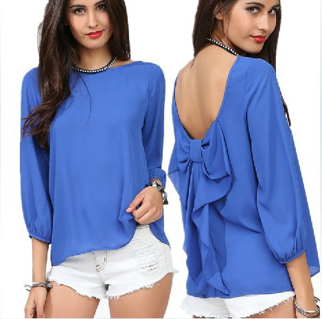 928 Free Shipping European Style Fashion Women 2014 Spring And Summer Chiffon Loose Backless Bow Pattern Blouse(China (Mainland))