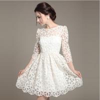 Free Shipping women basic slim lace spring sweet white dresses
