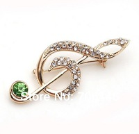 (Minimum Order>$12 ) Gold Tone Clear Rhinestone Music Note Brooch Pins