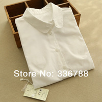 2014 Spring Women's Peter Pan Collar Pure White Quality Cotton Shirts