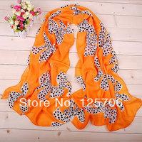 2014 New Bow Print Chiffon Scarf Women High Quality Female Long Silk Scarves Shawl