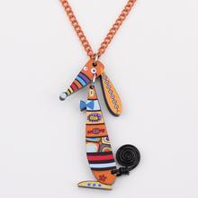 2pcs lot Wholesale colorful dog lovely cute pendant necklaces fashion girl acrylics necklace pendant for woman