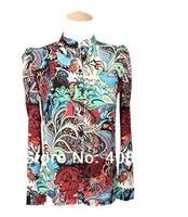 Free Shipping Fashion apparel hot trendy cozy women blouse shirts,T-shirt Fashion Long-sleeved printing Flower Blouses & Shirts