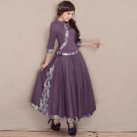 [LYNETTE'S CHINOISERIE - YHT ] Spring Autumn Women Plus Size Eletant Cute Slim Print Patchwork Cotton Skirt Sz S M L XL XXL XXXL