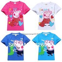 New Arrival Peppa Pig T-shirt White Pink Children T shirt Girls Clothes Boy Tees 100% Cotton Free Shipping 5PCS/ LOT