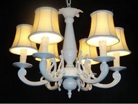 2014 European Mediterranean Six White Flower Covers Lamp Chandelier American Pastoral Style Minimalist For Personality
