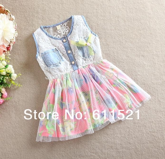 Girls dresses baby kids clothes nova 2015 high quality ben and holly flower vestidos children casual princess dress(China (Mainland))