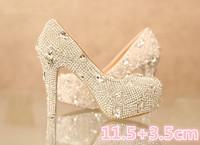 1398 Rhinestone Genuine Leather Women Wedding High Heels Shoes 11.5cm Size36-39