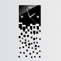 Free shipping simple square BLACK LUXURY 3D wall clock Home decoration crystal mirror wall clocks wall art watch HOT DESIGN